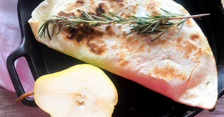 turkey pear brie quesadilla